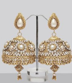 Stones Pearls Studded Jhumka Earrings Online Ping For Great Products From India With S And Offers Indian Clothes Jewelry