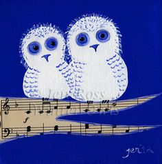 Owl Print  Whimsical Owl Painting  5 x 5  Blue Music by WinterOwls, $15.00