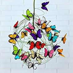 handmade ceiling lamps - colorful butterflies