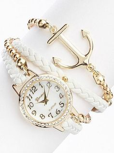 White Anchor Bracelet Watch