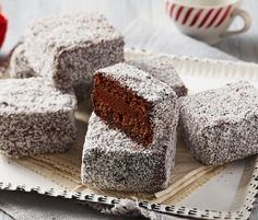 Choc Filled Lamingtons: Bite through the outer coconut layer to reveal a chocolate twist on the classic Australian lamington. http://www.bakers-corner.com.au/recipes/cakes/chocolate/choc-filled-lamingtons/