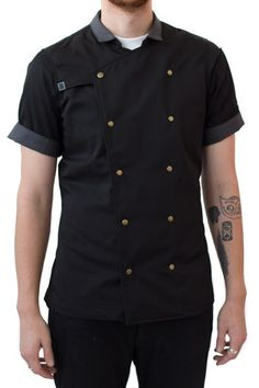 The very popular Mr. Salt chef coat is now available in black! #hallelujah An update on the classic, this snap-down chef coat is made with a sturdy yet breathable twill. We added a short modern collar