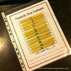 Free printable for a hands-on Popsicle stick skip counting math activity. So cute!