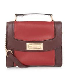 Red and Burgundy Colour Block Mini Satchel