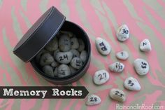 Each rock represents a special moment or memory! Keep a paper inside with the numbers and corresponding memory!  Memory Rocks via RainonaTinRoof.com