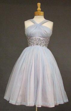 1950's chiffon halter dress with beaded waist. A definite Connie Stevens dress.  http://www.vintageous.com/