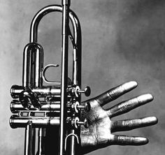 """Irving Penn. Miles Davis, Hand and Trumpet, NYC 1986  """"You have to play a long time to be able to play like yourself."""" M.Davis"""