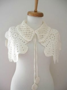 Bridal Shawl shrug or capelet Ivory Mohair Capelet by crochetlab, $48.00