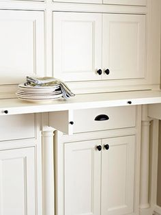 Pull-out retractable counter ledge. This would be good in the butlers pantry to set dishes on as you are getting them out..