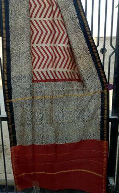 Bagru hand block printed Chanderi silk bagru printed Sarees with blouse natural dye nd color