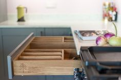 Kitchen cabinet drawers - solid oak dovetailed drawboxes on concealed runners…