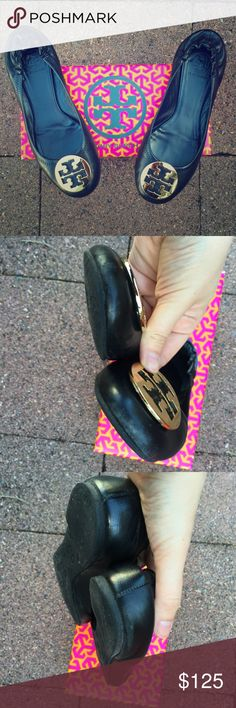 Black with Gold Medallion Tory Burch Reva Flats Smooth black leather with gold medallion. Shoes show some signs of wear on heel and toe (pictured). Many miles left in them! Tory Burch Shoes Flats & Loafers