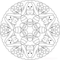 Great Easter or Ostara themed mandala for kids. Or grownups . Shala Kerrigan www.familyholiday… Make your world more colorful with free printable coloring pages from italks. Our free coloring pages for adults and kids. Free Easter Coloring Pages, Easter Bunny Colouring, Spring Coloring Pages, Mandala Coloring Pages, Colouring Pages, Adult Coloring Pages, Coloring Pages For Kids, Coloring Books, Egg Coloring