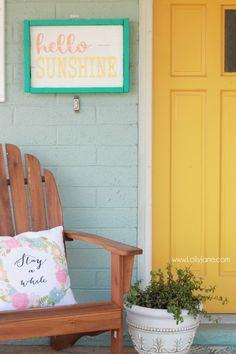Make this fun Hello Sunshine summer sign using foam! Easy DIY craft project, hello sunshine! Cute summer decor idea, fun front porch summer decor too!