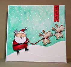 Artfull Journey: Trio of Challenges - Santa & reindeer card.