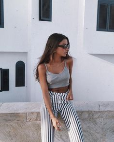 Gray spaghetti strap tank, high wasted vertical striped pants