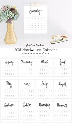 pretty hand written calendar printable