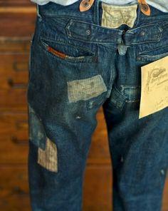 Mended Raw Denim, Blue Denim, Denim Ideas, Denim Patchwork, Denim And Supply, Denim Fashion, Male Fashion, Vintage Denim, Work Wear