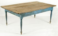 MID-19TH CENTURY NORTH CAROLINA FARM TABLE WITH FINELY TURNED, COUNTRY SHERATON LEGS AND IMPECCABLE BLUE PAINTED SURFACE:  Blue paint is the first thing one must point out when describing this large, ca 1840-1870, North Carolina farm table