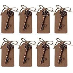 AmaJOY 50 pcs Rustic Vintage Key Bottle Opener with Escort Card Tag and Twine Practical Wedding Favors Party Favors Team Favors - Ideal Wedding Ideas Wedding Favours Luxury, Winter Wedding Favors, Edible Wedding Favors, Rustic Wedding Favors, Unique Wedding Favors, Party Favors, Wedding Decor, Wedding Ideas, Key Bottle Opener