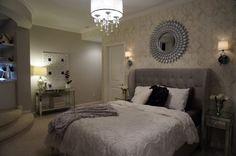 incredible bedroom with hanging light fixture