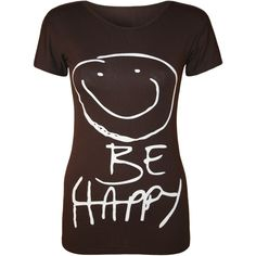 Maureen 'Be Happy' Smiley T-Shirt ($9.91) ❤ liked on Polyvore featuring tops, t-shirts, dark brown, print tops, print t shirts, print tee, brown tops and short sleeve tops