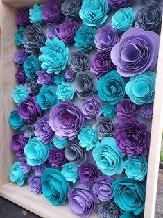 Paper Flowers Craft, Flower Crafts, Diy Flowers, Paper Crafts, Diy Crafts, Flower Shadow Box, Diy Shadow Box, Flower Boxes, Sola Wood Flowers