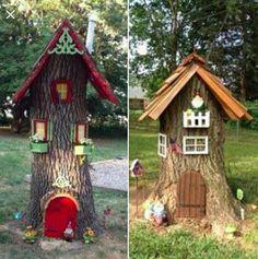 Turn a tree stump into a cute fairy/gnome house. #garden #repurpose