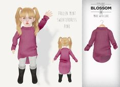 .The Blossom. Frozen mint sweaterdress pink for Toddleedoo BABY size only!