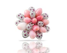 TARA Pearls Natural Conch Pearl Flower Pin with Pink Sapphires, Rubies and Diamonds.