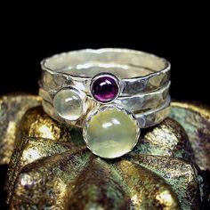 Gorgeous! Sterling Silver Stacking Rings with green moonstone and rhodolite garnet - Dew on a Flower from Lavender Cottage on Etsy