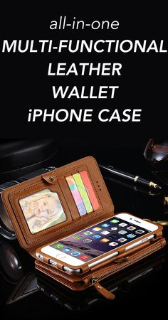 All-In-One Multi-Functional Leather Wallet Style iPhone Case