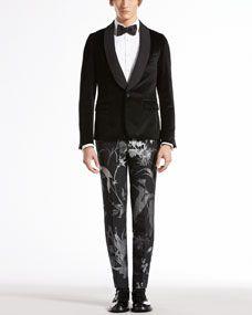 Velvet Evening Duke Jacket, Evening Shirt, Botanic-Jacquard Skinny Pants & Satin Bow Tie. 2450,545,1595,195