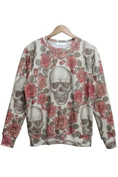 Rose Skull Graphic Sweatshirt - OASAP.com