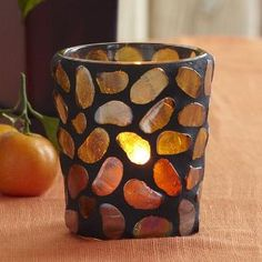 Aurora Votive Holder - Artfully placed glass pebbles create a shimmering dance of amber light. For use with a tealight or votive candle, sold separately. Votive Holder, Glass Candle Holders, Votive Candles, Moroccan Lamp, Candles Online, Mosaic Glass, Stained Glass, Tea Lights, Wax