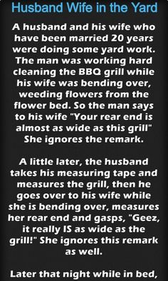 Husband Wife in the Yard – Jokes Jelly Great Stories, Husband Wife, Work Hard, Jelly, Laughter, Hilarious, Jokes, Yard, Sayings