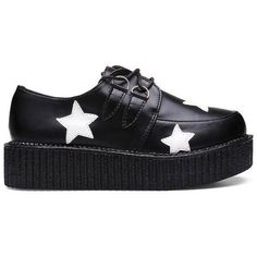 Retro Women Platform Lace Up Flat Creepers Punk Goth... ($22) ❤ liked on Polyvore featuring shoes, goth punk shoes, punk rock shoes, retro shoes, laced shoes and gothic shoes