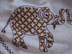 Hi Friends, Here is an elephant made of Kuch Work, This is one of my favorite. Thank you for visiting. Hand Embroidery Tutorial, Hand Work Embroidery, Embroidery Hoop Art, Embroidery Stitches, Embroidery On Kurtis, Kurti Embroidery Design, Indiana, Yellow Kurti, Kutch Work Designs
