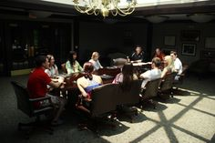 Communications majors meeting with department chair, Richard Krause and professor, Lanny Frattare.