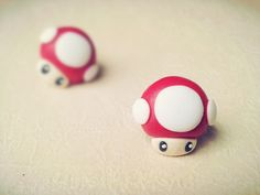 Material:+korean+polymer+clay;  Size:+1.3+*+1.3+cm;  Man-eater+earrings+link:+http://noirlu.storenvy.com/products/1637580-super-mario-man-eater-flower-fimo-earrings