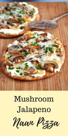 Quick and tasty Mushroom Jalapeno Naan Pizza is what you need to fix a pizza craving anytime. Quick and tasty Mushroom Jalapeno Naan Pizza is what you need to fix a pizza craving anytime. Indian Food Recipes, Vegetarian Recipes, Cooking Recipes, Healthy Recipes, Vegetarian Pizza, Cooking Bread, Healthy Flatbread Recipes, Healthy Snacks, Naan Pizza