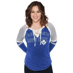 Toronto Maple Leafs Touch by Alyssa Milano Women's Backshot Lace-Up Long Sleeve T-Shirt - Blue