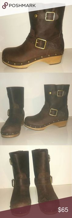 LUCKY BRAND LEATHER STUDDED BOOTS - SIZE 6.5M THESE BROWN STUDDED LEATHER BOOTS ARE CUTE AS A BUTTON,  WITH TWO ( 2 ) BIG BUCKLES AT SIDES AND STUDS ALONG SIDES ALL OVER  EXTREMELY EXCELLENT CONDITION, JUST LIKE NEW❤❤💕💕....  NO RIPS, SPOTS OR STAINS!   MATERIALS CONSIST OF 100 % LEATHER Lucky Brand Shoes Ankle Boots & Booties