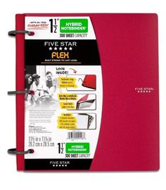 NEW RED Five Star Flex Hybrid Notebinder, 1.5 inch capacity