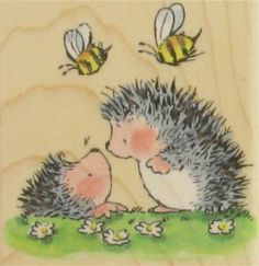 See Good News (Hedgehogs) by Penny Black on Addicted to Rubber Stamps! Penny Black Cards, Penny Black Stamps, Hedgehog Art, Cute Hedgehog, Hedgehog Illustration, Illustration Art, Watercolor Cards, Watercolor Paintings, Baby Clip Art
