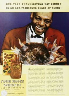 Four Roses Whiskey Bourbon Pudding Vintage Alcohol Ads of the 1930s racists themes