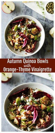 Autumn quinoa bowls with apple, Brussels, raddichio, and goat cheese tossed in zippy orange vinaigrette: A delicious, nutrient-packed way to enjoy fall's bounty.I love a cozy fall soup or latte as much as the next girl, but fall grain bowls are what really make my heart sing. You simply cannot beat layers of vegetables, chewy...Read More »