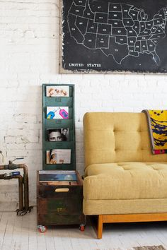 Mustard & maps & magazines—three very fun m's! (via http://urbanoutfitters.tumblr.com/post/27428030358/home-catalog-2012-photography-by-the-selby#)...gave me an idea!