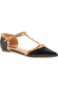 Halogen® 'Olson' Pointy Toe Studded T-Strap Flat (Women) (Nordstrom Exclusive) available at #Nordstrom
