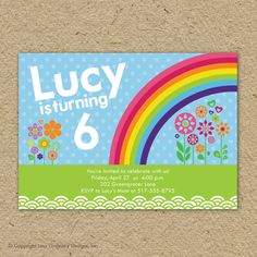 rainbow birthday party invitation with photo - modern rainbow birthday theme. $15.00, via Etsy.